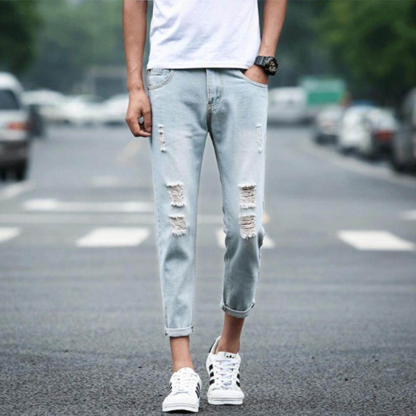 ZH Shopping Do the old jeans light colored pants Light blue - intl ...