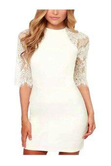 ZigZagZong Half Sleeve Sheer Lace Crew Neck Tasseled Trim Women Mini Dress Stretch Bodycon White