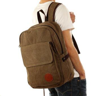 2016 Fashion Canvas of both men Daily Backpacks for Laptop 14 inch Computer Bag Casual Student School Bagpacks Travel Bag (Coffe) - intl