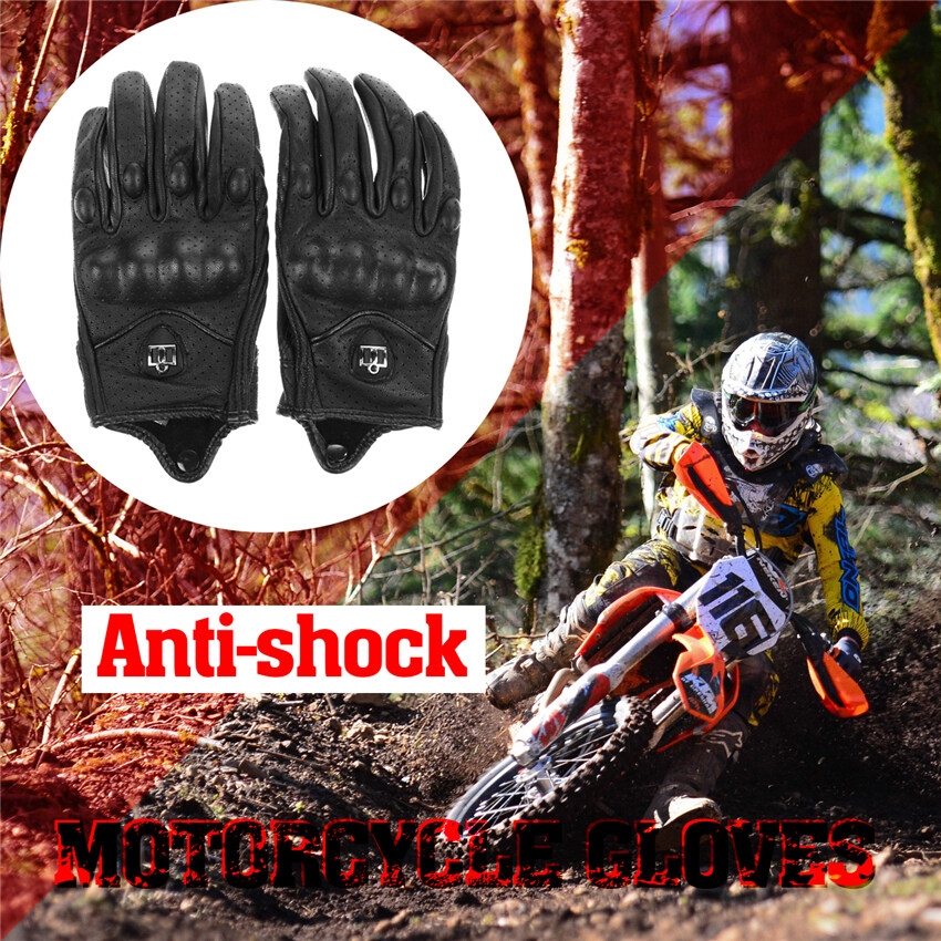2016 High Quality Men Motorcycle Gloves Outdoor Sports Full Finger Short Leather Gloves with hole XL(black)