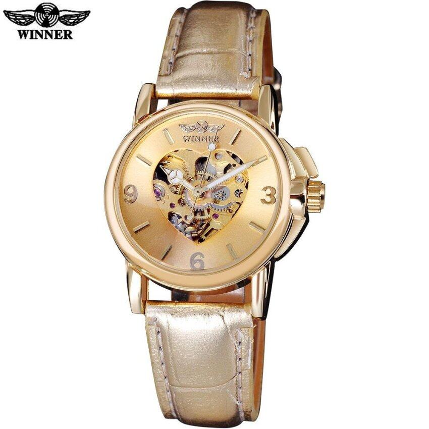 2016 WINNER popular brand women watches luxury automatic self wind watch skeleton dials transparent glass gold case leather band - intl ...