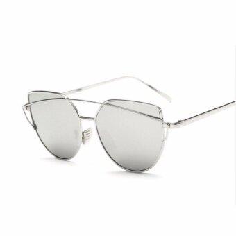 2017 New Cat Eye Sunglasses Women Brand Designer Fashion Twin BeamSunglasses Double-Deck Alloy Frame Uv400 - intl