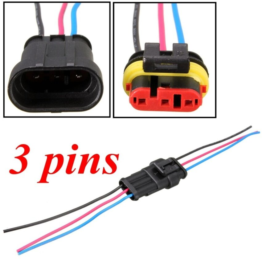 20pcs 3 Pins Way Car Motorcycles Waterproof Electrical Connector Plug w/10cm Wire - intl