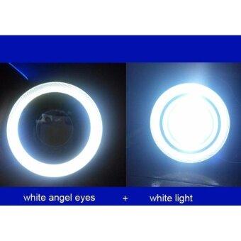 2pcs 3inch white Waterproof Projector LED Fog Light With Lens HaloAngel Eyes Rings COB 30W Xenon