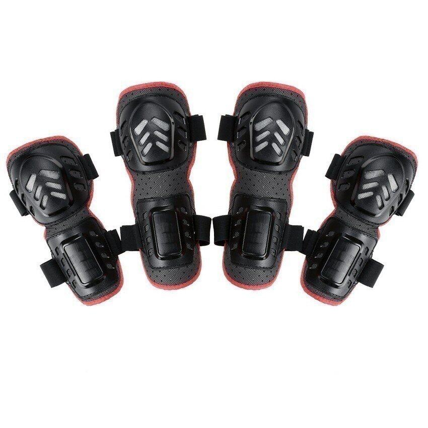 4Pcs Racing Bicycle Motorcycle Knee Pad and Elbow Protector Protective Gear Black (Intl) (Intl)