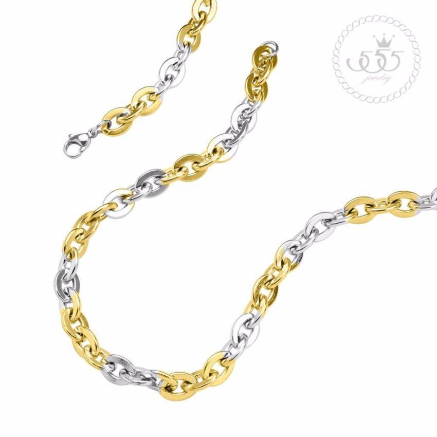 555jewelry สายสร้อยคอแฟชั่น ลายโซ่สลับสี รุ่น MNC-C131-A1 ...
