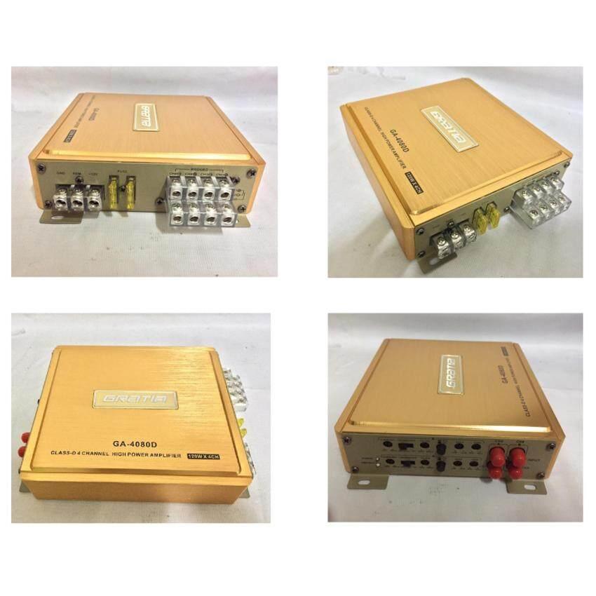 AMPแอมป์ 4CH ตัวเล็ก ขับลำโพงกลางแหลม 4x80W gatia รุ่น D-4080/