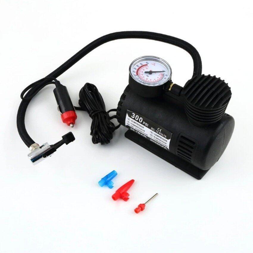 ANNY Air Compressor ปั้มลมไฟฟ้าสำหรับรถยนต์ ปั๊มลมติดรถยนต์ ปั๊มเติมลมยาง Air pump 300PSI 12V (สีดำ) ...