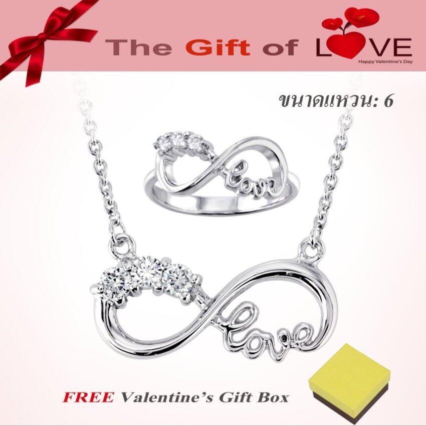 นำเสนอ Beauty Jewelry เครื่องประดับผู้หญิง สำหรับวาเลนไทน์ VALENTINE'Sชุดเซ็ตสร้อยคอและแหวน ETERNITY with LOVE ประดับเพชรสวิส CZ รุ่นSA1803-RR เคลือบทองคำขาว (ขนาดแหวน 5, 6, 7 / สร้อยปรับขนาดได้ 16หรือ 18 นิ้ว) สุดคุ้ม