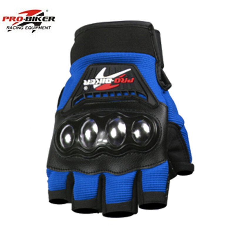 Blue Motorcycle half finger gloves men gants moto riding Motorcycle Gloves Breathable Mesh Fabric men steel Gloves - Intl