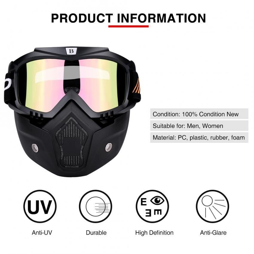 BSDDP Motorcycle Dirt Bike Windproof Dustproof Helmet Shield Goggles With Removable Mask #1 - intl