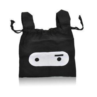 Bunny Fabric Drawstring Pouch Travel Storage Tote Bag Black