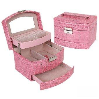 BUYINCOINS Leather Jewelry Box Organizer Ring Earring MirrorDisplay Storage Cosmetic Case Pink - intl