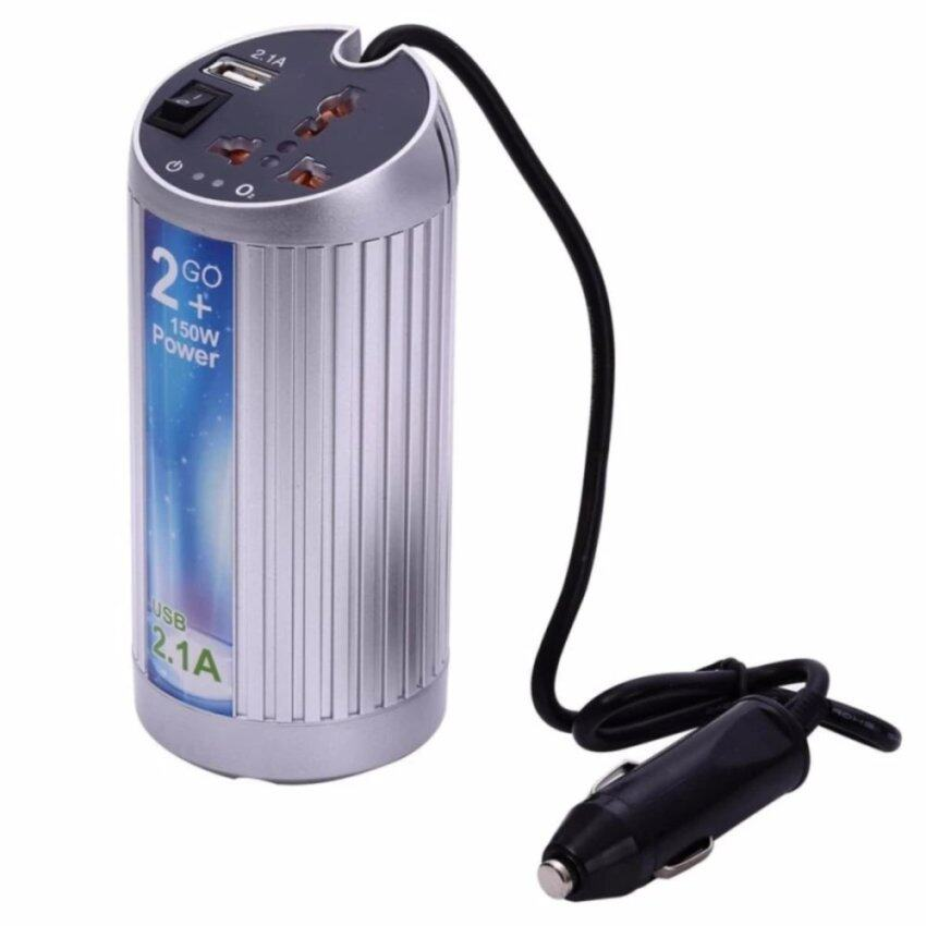 Car Truck Boat USB 150W DC 12V TO ION-AC 220V POWER INVERTER WITH USB PORT (SILVER)