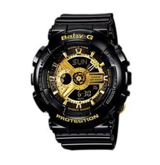 Casio Baby-G นาฬิกาผู้หญิง สีดำ/ทอง สายเรซิ่น รุ่น BA-110-1ADR image