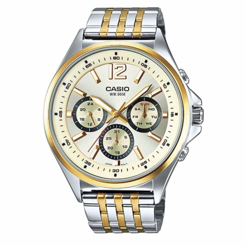 Casio นาฬิกาข้อมือผู้ชาย สายสแตนเลส สองกษัตรย์ รุ่น MTP-E303SG-9AVDF - สีทอง ...