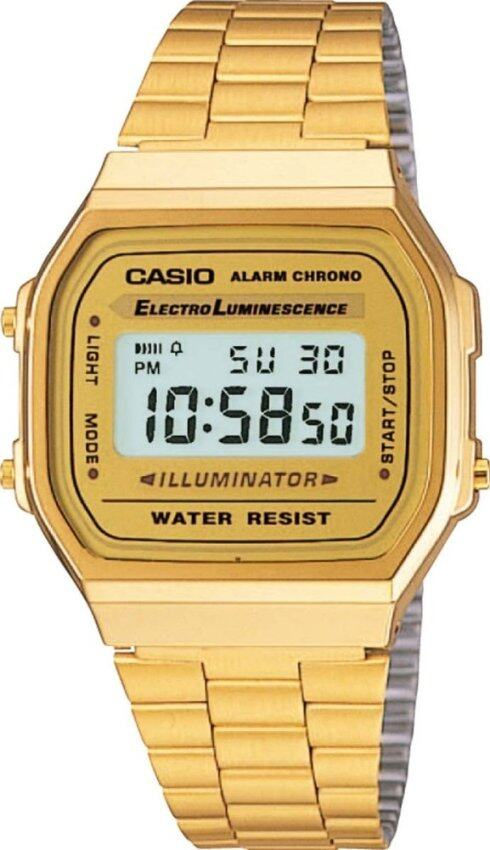รีบเลย Casio นาฬิกาข้อมือผู้หญิง สายสแตนเลส รุ่น A168WG-9W - Gold ลดราคา