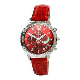 Casio Watch Sheen Chronograph Red Stainless-Steel Case Leather Strap Ladies NWT + Warranty SHE-5017L-4A