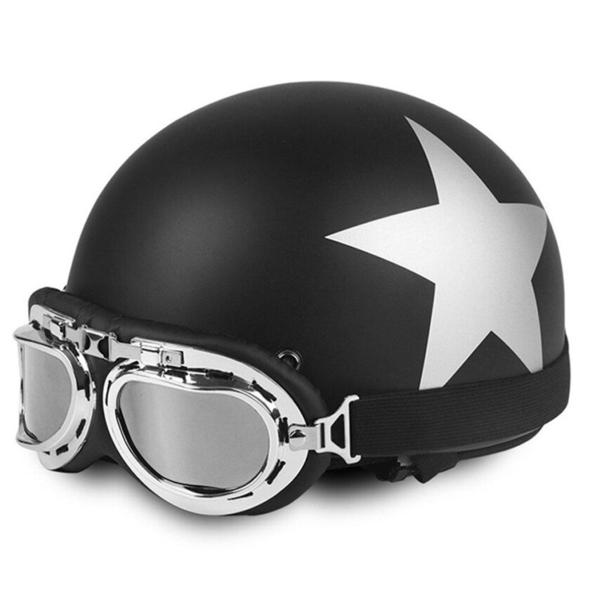 CHEER Star Pattern Open Face Half Helmet for 54-59cm Head Circumference with Goggles Black - intl