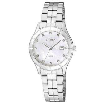 Citizen Watch Quartz Silver Stainless-Steel Case Stainless-Steel Bracelet Ladies NWT + Warranty EU6040-52D