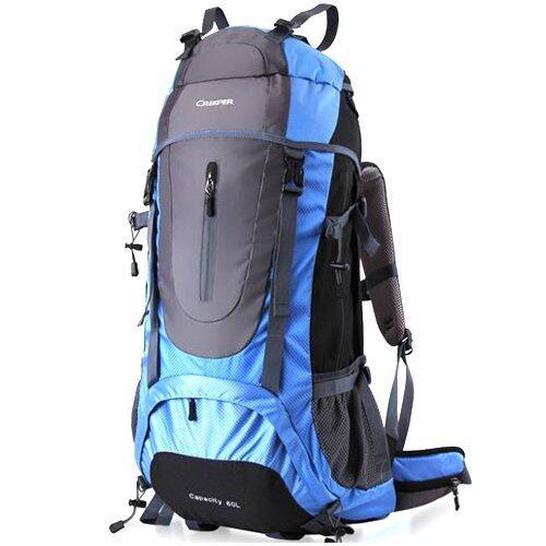 Creeper กระเป๋าเป้ รุ่น Nylon sport hiking backpack waterproof 60L สี ฟ้า