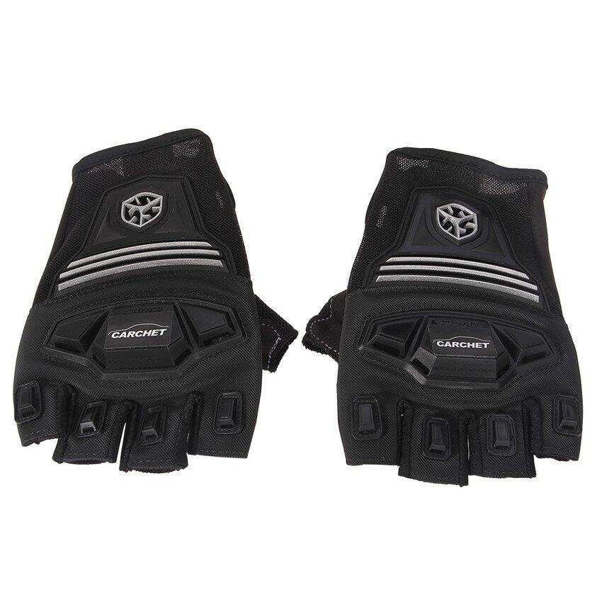CTO Pair Motocross Bike Half-finger Gloves Protective Shell L Color (Black)