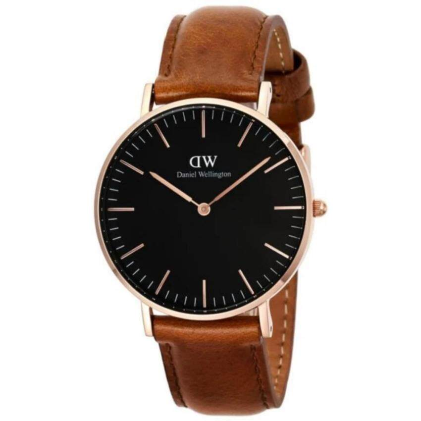 Daniel Wellington DW00100138 Classic Black Durham 36mm นาฬิกาข้อมือ แฟชั่น ผู้หญิง สายหนัง สีดำ Women Watch - Black Dial Light Brown Strap ...