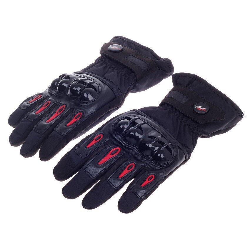 DHS PRO-BIKER Stylish Waterproof Warm Full Finger Motorcycle Racing Gloves (Black /Red)