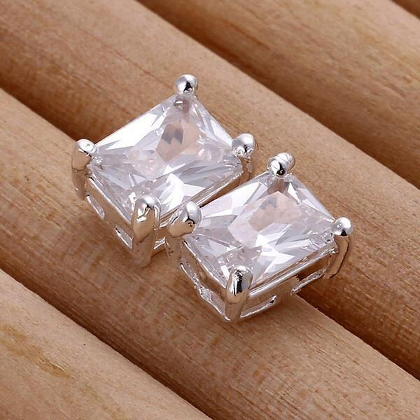 E098 Rectangle Luxury Zircon Women Silver Plated Jewelry Earrings - intl ...