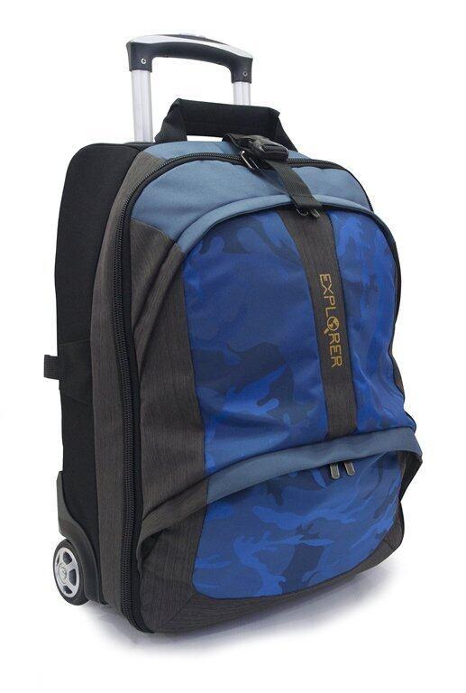 Explorer กระเป๋าเดินทาง เป้ คันชัก สะพายหลังและล้อลาก Baggage Backpack Blue 30 ลิตร (ฟ้า)