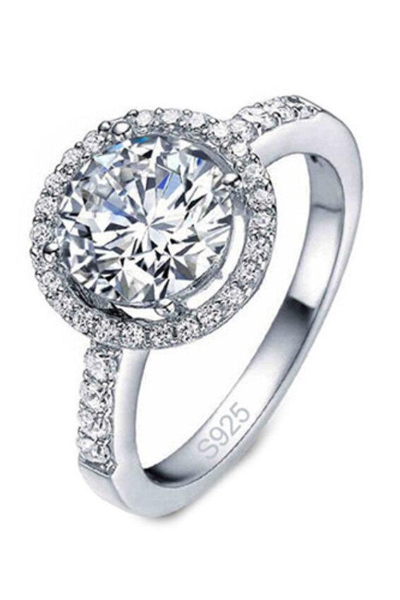 นำเสนอ Fancyqube Synthetic Diamond Engagement Ring For Women Gold PlateSterling Silver Jewelry สุดคุ้ม