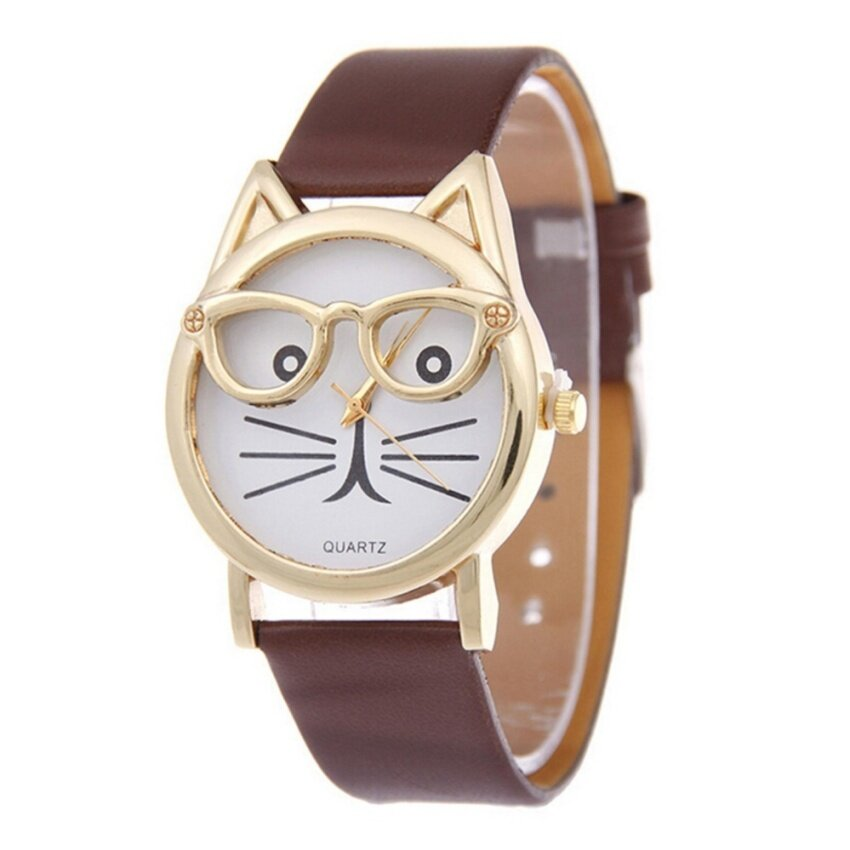Feitong Fashion Women Dress Watch Bracelet Geneva Roman Numerals PU Leather Brown - intl ...