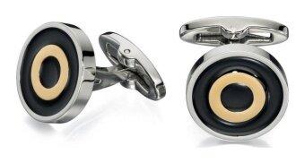 Fred Bennett Stainless Steel Cufflinks With Black Enamel  Gold PVD - intl