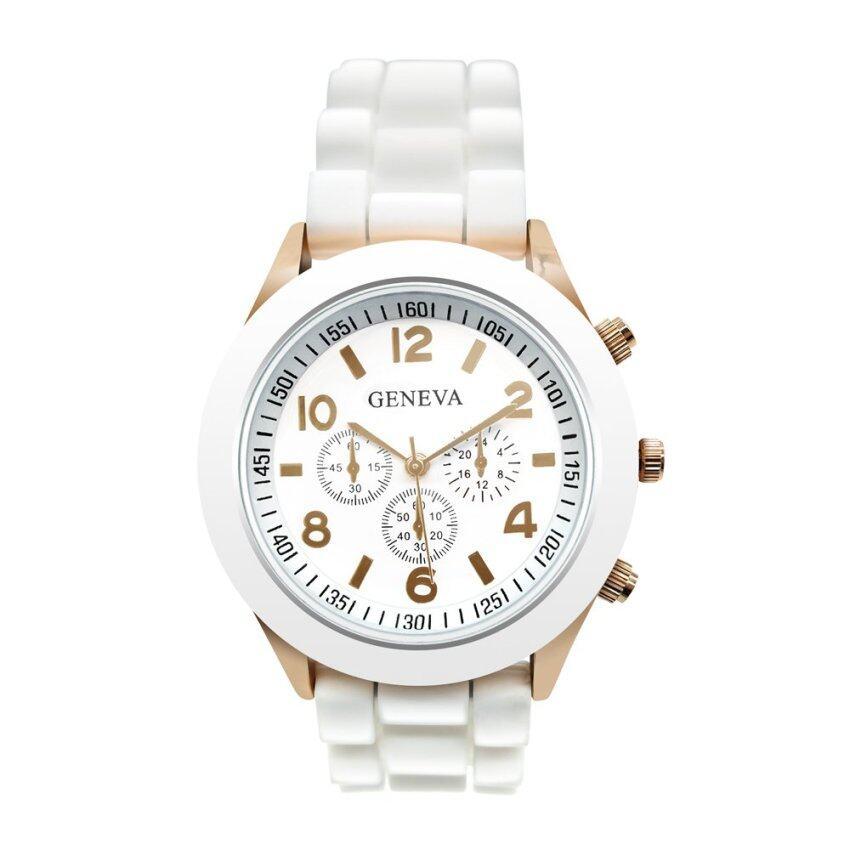 ด่วน GENEVA watch นาฬิกาข้อมือผู้หญิง สีขาว สายยาง รุ่น WM0001 กำลังลดราคา