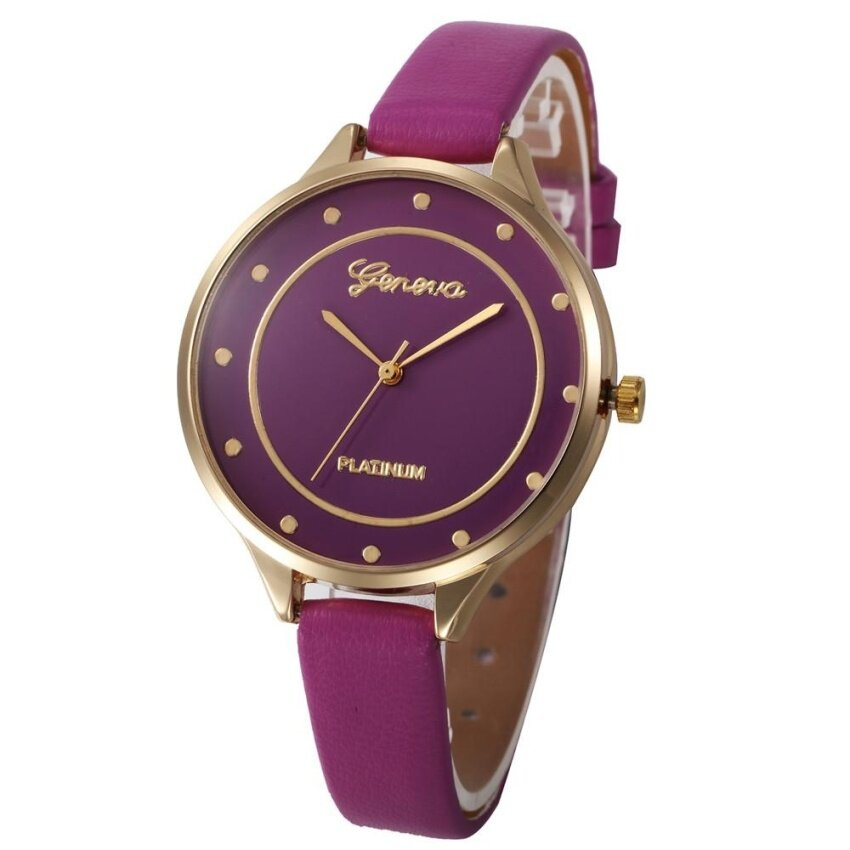 Geneva Women Faux Leather Analog Quartz Wrist Watch Purple - intl