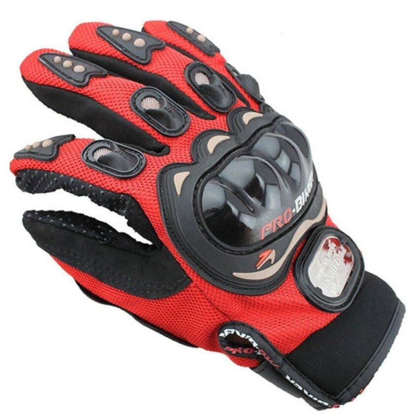 Good Service Racing Protective Gloves Full Finger Motorcycle Racing Gloves 4 Knuckle Protective for Men Red (L) - intl
