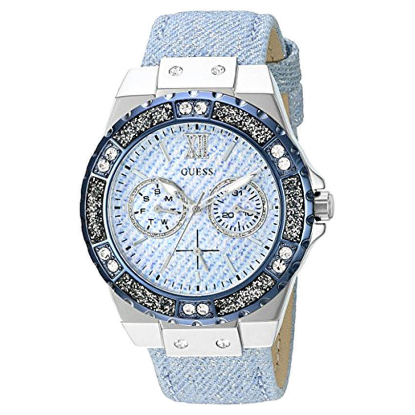 GUESS Women's U0775L1 Iconic Sky Blue Denim Multi-Function Watch (Intl)