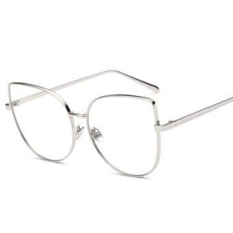 HerMia European Fashion Metal Oversize Women Man Clear TransparentLens Plain Glass Spectacles Glasses ( NO.3: Silver Frame ) - intl