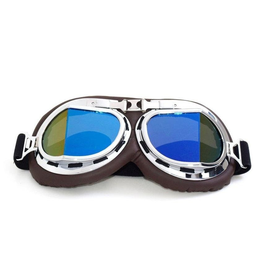 HUADE High vintage pilot goggles Quality Aviator Pilot Cruiser Motorcycle Scooter ATV Goggle Eyewear T08Y Colour Lens - intl