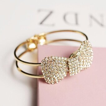 Hequ Min order is 9 can mix style Rhinestone gold plated bracelet bow bracelet fashion wide bracelets - intl