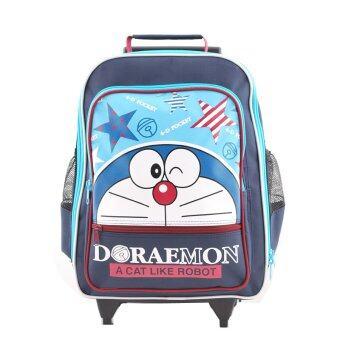 Doraemon กระเป๋าเป้มีล้อลาก สะพายหลัง กระเป๋านักเรียน (สีกรมคาดฟ้า)
