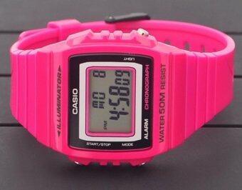 Casio Standard นาฬิกาข้อมือผู้หญิง สายเรซิ่น รุ่น W-215H-4AVDF - สีชมพู