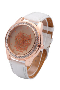 Fashion Brand Casual Luxury Diamond Watches Women Quartz Watch Owl Pattern Feminino Watch(White)