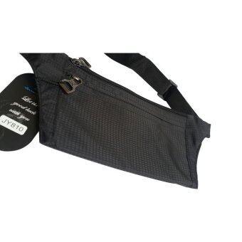 Lotte กระเป๋าแนบตัว 3 ช่อง ซิปแข็งแรง ซ่อนใต้เสื้อได้ กันน้ำ ไม่โป่งพอง ลายผ้า samsonite (JY810-สีดำ) (image 1)