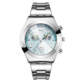 2559 คุณภาพสูง LONGBO ผู้หญิง S ' แฟชั่นการตกแต่งแบบสามตาเพชรประดับด้วยนาฬิกาข้อมือ (สีเขียว) (image 1)