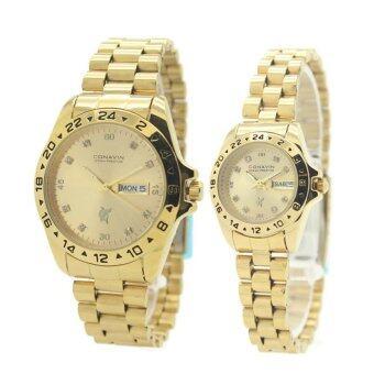 CONAVIN นาฬิกาข้อมือผู้ชาย,ผู้หญิง คู่รัก สายทอง เรือนทอง วันที่/สัปดาร์ รุ่น GTW-5674G image