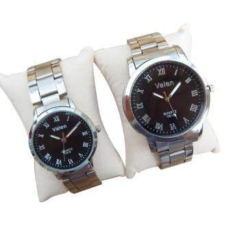 Valen นาฬิกาคู่รัก นาฬิกาข้อมือคู่รัก เซ็ตคู่ นาฬิกาคู่ สายสแตนเลส นาฬิกาข้อมือ ทันสมัย [หน้าปัดดำ]