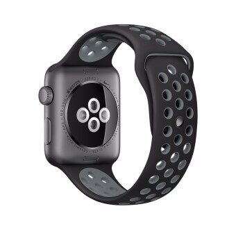 GAKTAI Sports Replacement Bracelet Watch Bands Silicone Strap For Apple Watch Series 38MM (Black Grey) - intl image