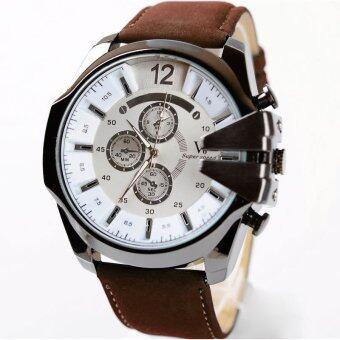 MEGA Luxury Quartz Waterproof Leather Watchband Outdoor Fashion Analog Wristwatch หรูหรานาฬิกาข้อมือ สายหนัง กันน้ำ รุ่น MG0018 (White/Dark Brown)