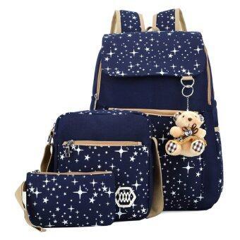 กระเป๋าเป้ผ้าใบกระเป๋านักเรียนหญิงสาวแบกเป้ท่องเที่ยว (image 0)